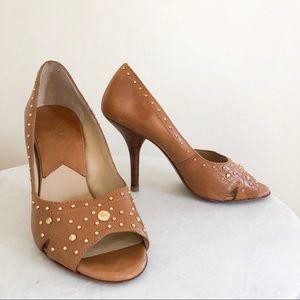 michael kors   studded leather peep toe heels sz 7